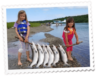 Two girls With Salmon - Day Trips/Charters - Glacier Tours - Bear Viewing - Anchorage